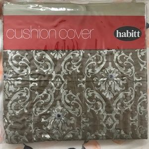 NWT Cushion Cover - Charcoal With Pattern